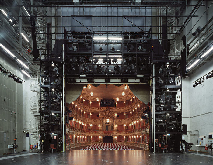 Looking into a theater from behind the stage