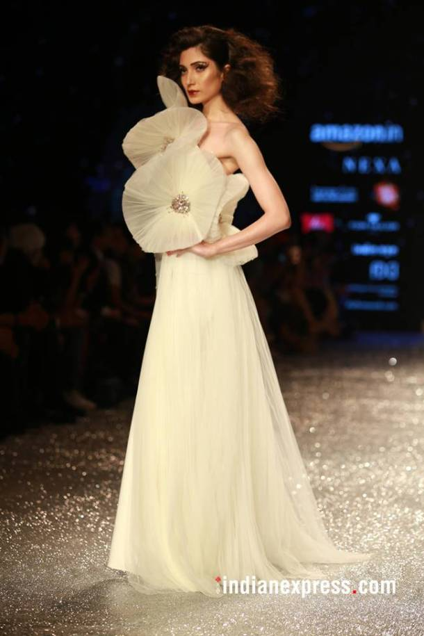Whites with ruffled floral embellishments were in abundance on the runway.