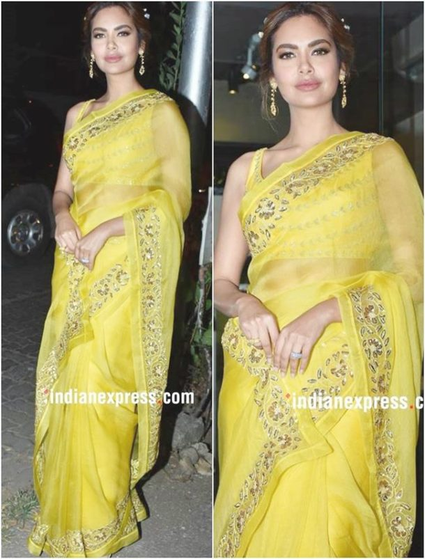 HIT: Esha Gupta attended the launch of her sister Neha Gupta's Ranian Festive SS'18 collection and she charmed us with her ethnic avatar in a very trendy sunshine yellow sari.