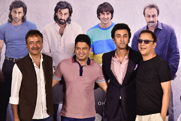 Rajkumar Hirani, Bhushan Kumar, Ranbir Kapoor and Vidhu Vinod Chopra pose for a photo during the trailer launch of