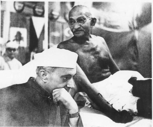 Pandit Jawahar Lal Nehru with Mahatma Gandhi.