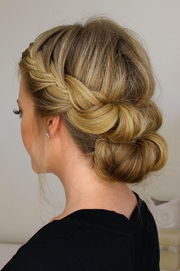 7. French braided twisted bun hairstyle
